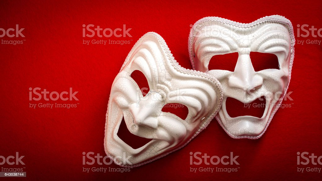 Comedy and Tragedy theatrical masks stock photo