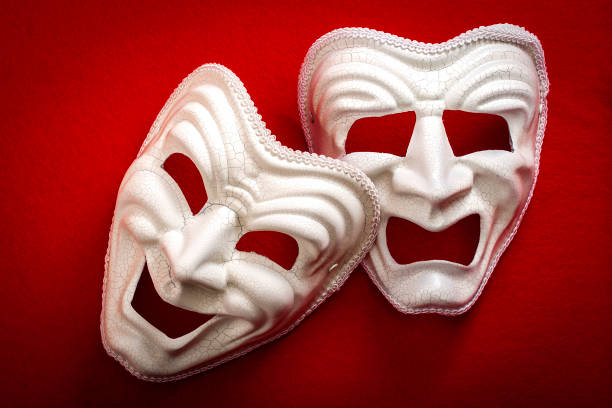 comedy and tragedy theatrical masks - tragedy mask stock photos and pictures