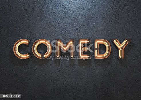 istock Comedy neon sign on dark background. 1056007908