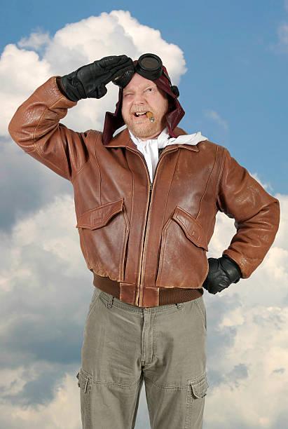Comedy World War II Pilot Stands and Gives Salute stok fotoğrafı