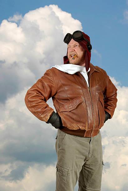 Comedy World War II Pilot Strikes a Pose stok fotoğrafı