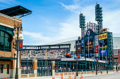 Detroit, MI, USA - August 24, 2006: Comerica Park ball park stadium on Woodward Ave in downtown Detroit Michigan