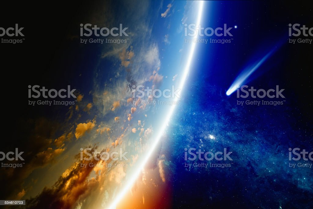 Comet approaches Earth stock photo