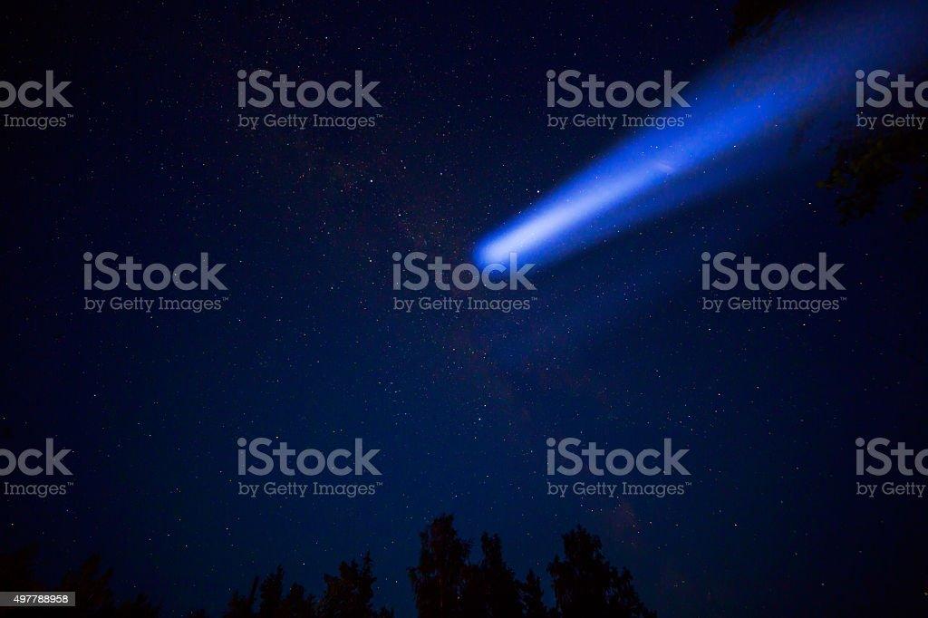Comet in night sky stock photo