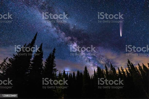 Photo of NEOWISE Comet in Night Sky with Milky Way Galaxy