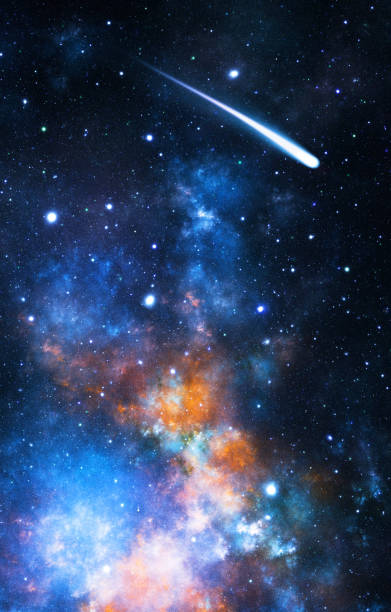 Comet in space stock photo