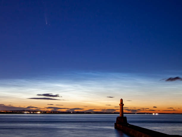 Comet NEOWISE above Aberdeen, Scotland stock photo