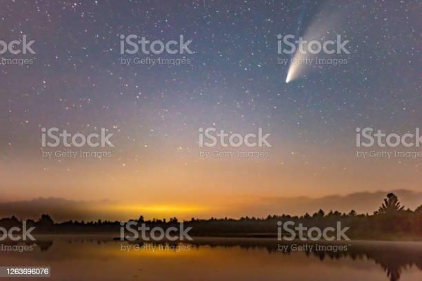 Photo of Comet Neowise in the dark night sky after sunset, Torrance Barrens Dark-Sky Preserve, Gravenhurst, Canada