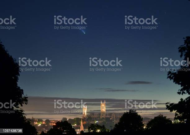 Photo of Comet Neowise over Lincoln Cathedral