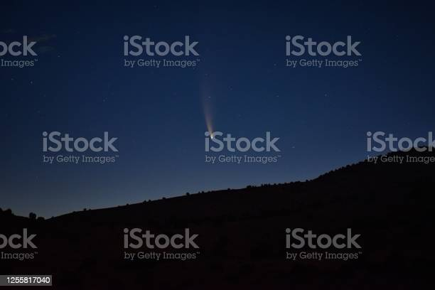 Photo of NEOWISE Comet technically known as C/2020 F3, rising on the Horizon in Utah, United States, taken just before dawn on July 12, 2020, from the Simpson Springs Pony Express Trail Station in the West Desert by Salt Lake City. USA.