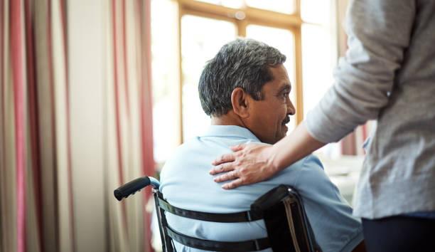 comfort and care will always be near - sedia a rotelle foto e immagini stock