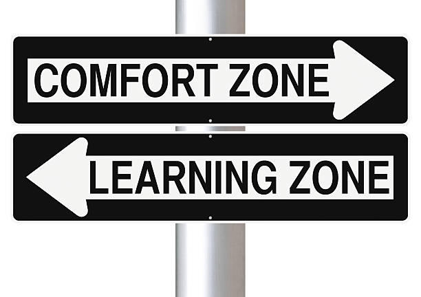 Comfort or Learning Modified one way signs indicating  Comfort Zone and Learning Zone time zone stock pictures, royalty-free photos & images