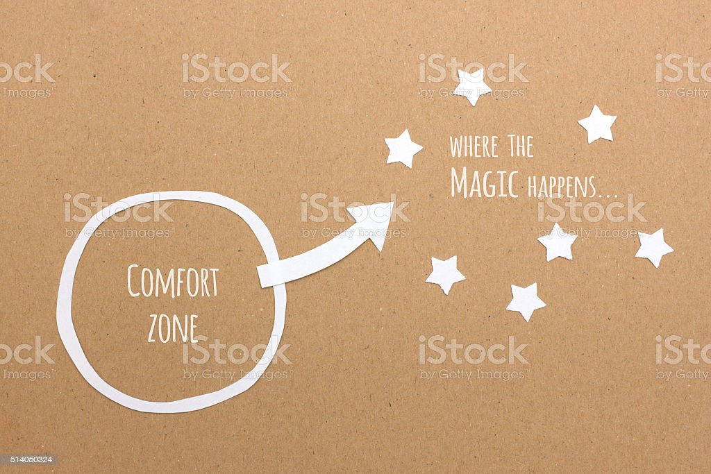 Comfort zone and where the magic & success happens stock photo