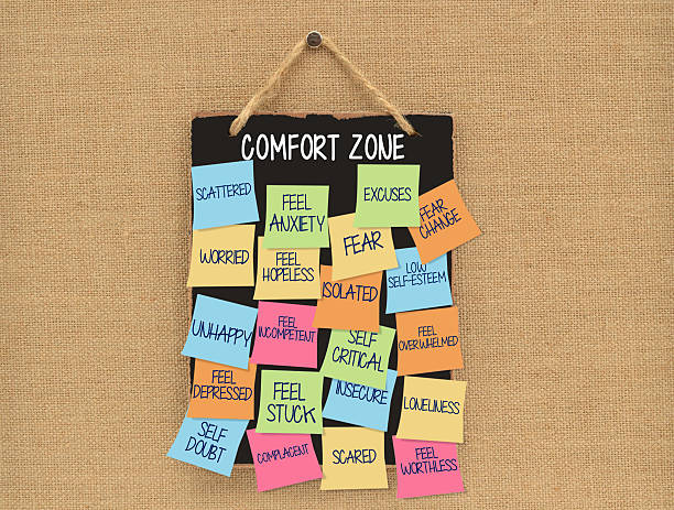Comfort Zone Blackboard Comfort Zone Blackboard with post it notes (fear change, unhappy, excuses, anxiety, scattered, stuck, complacent, lonely, worthless, low self esteem, worried, depressed) hanging on canvas board low self esteem stock pictures, royalty-free photos & images