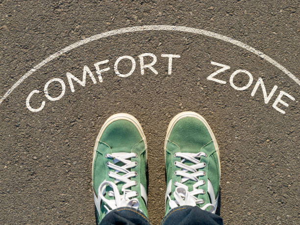 comfort zone photo on top of the sneakers and the inscription comfort zone on the asphalt, the concept of personal private space time zone stock pictures, royalty-free photos & images