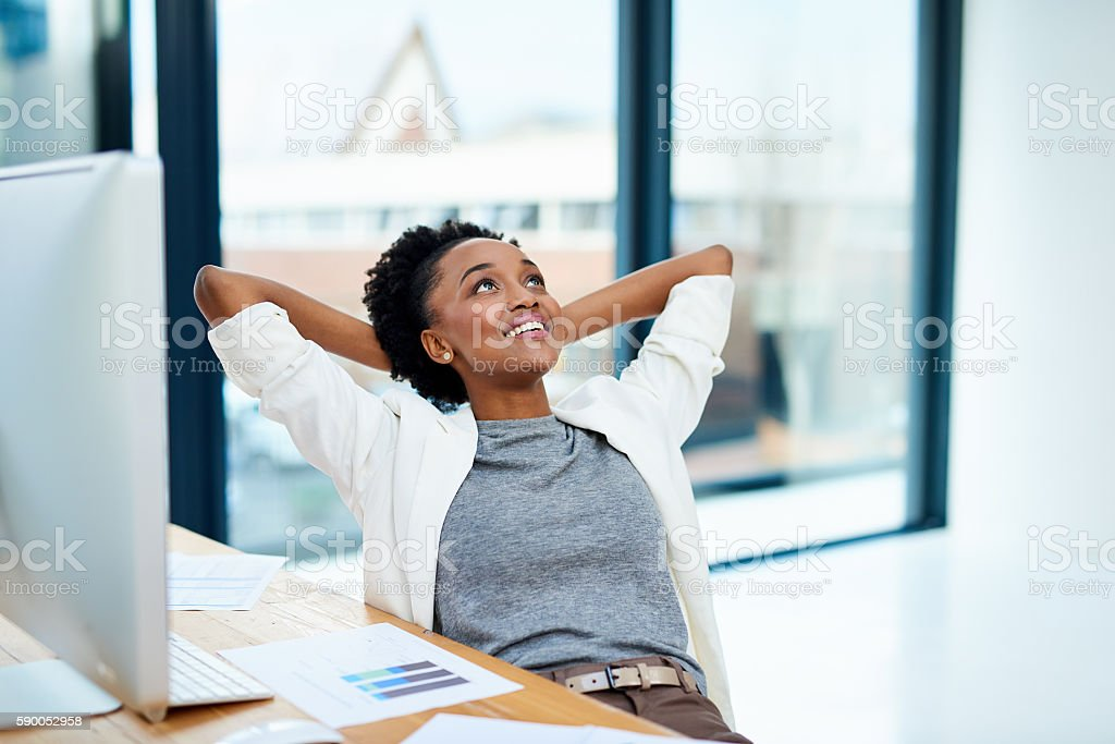 Comfortable and confident stock photo