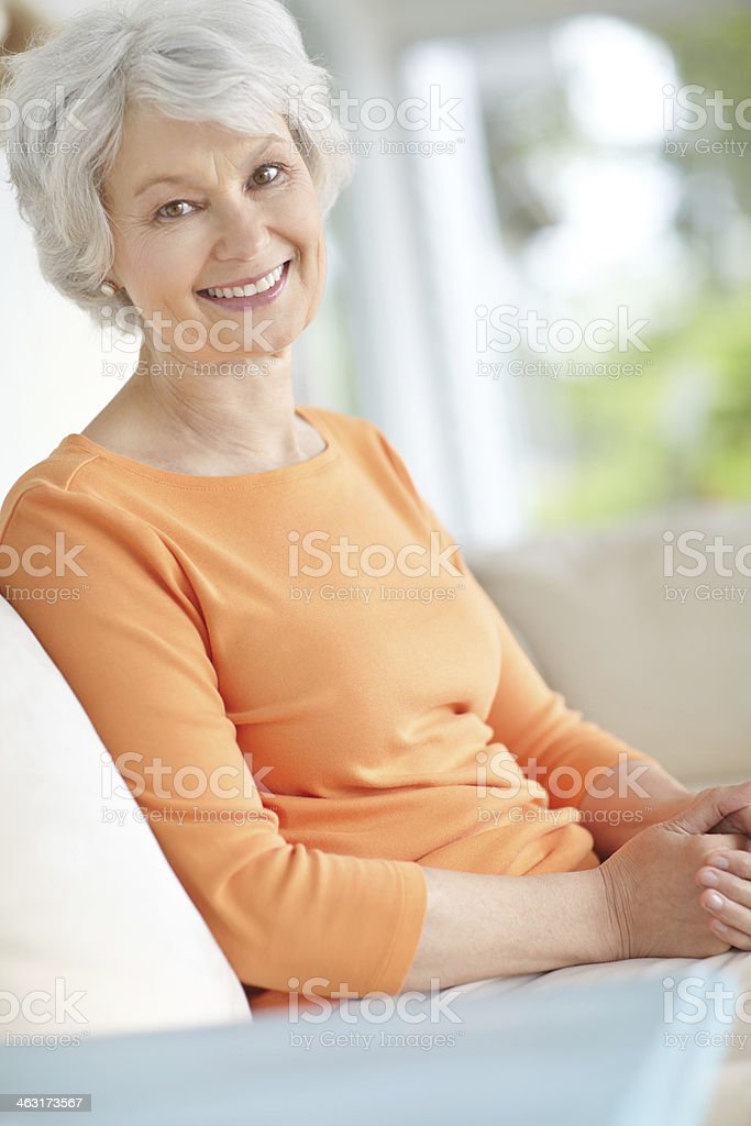 Comfortable and happy at home stock photo