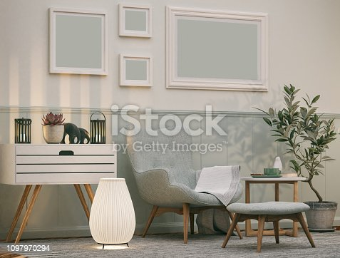 Picture of comfortable armchair in the living room. Render image.