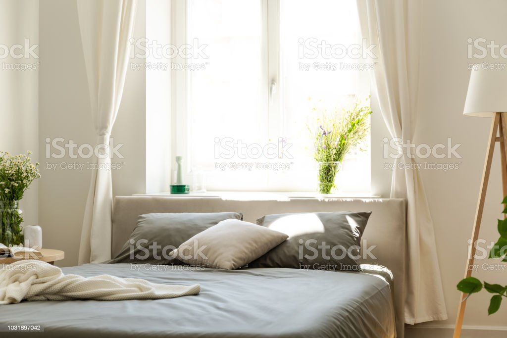 A comfortable bed with graphite bedding and cushions against a bright...