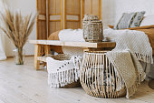 istock Comfortable bedroom in bohemian interior style with furnishing 1248900623