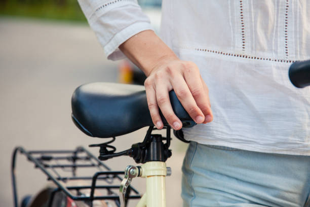 Comfortable bicycle seat stock photo