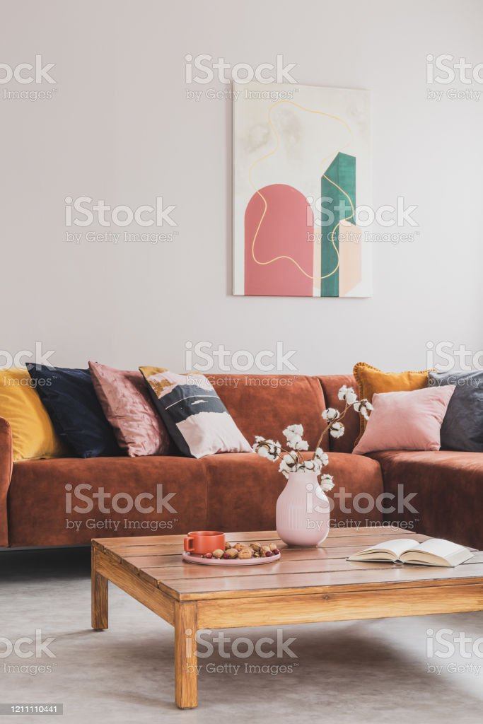 Comfortable Brown Velvet Sofa With Pillows In Elegant Living Room Interior Stock Photo - Download Image Now - IStock