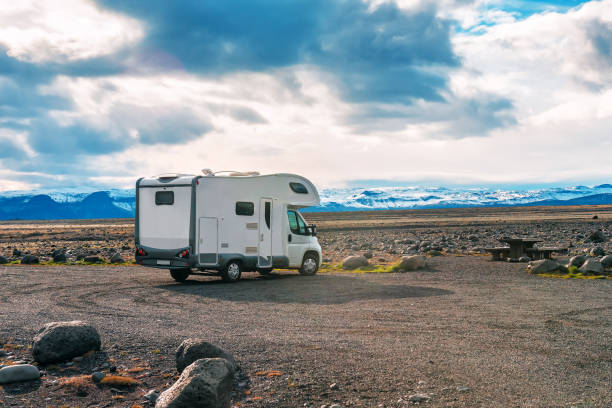 comfortable camper stands in Iceland stock photo