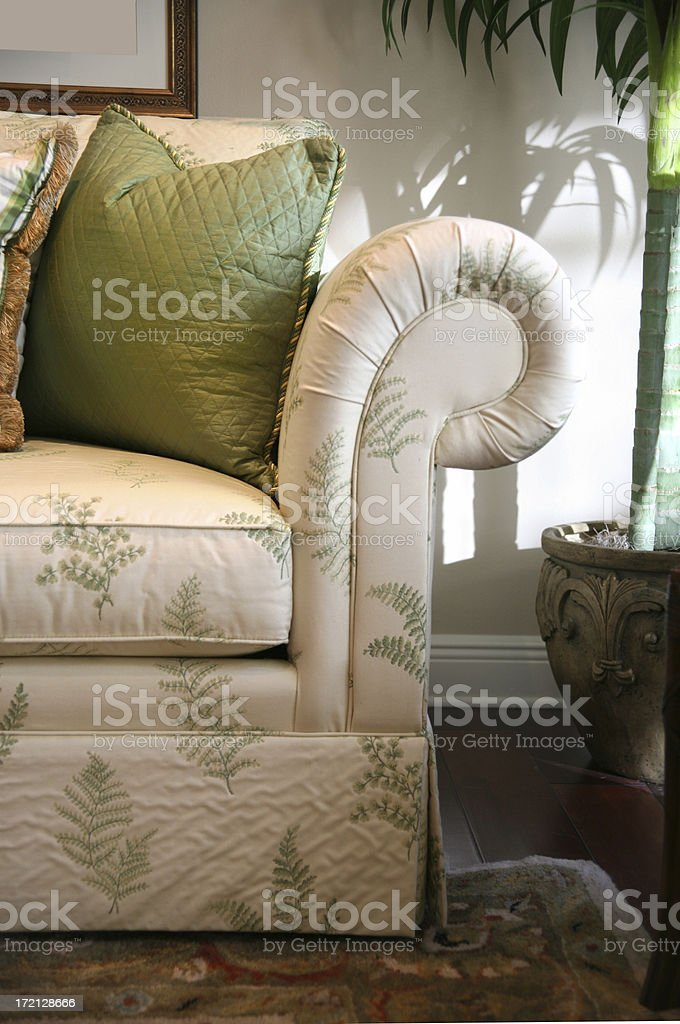 Comfortable Couch with Pillows and Palm Tree royalty-free stock photo