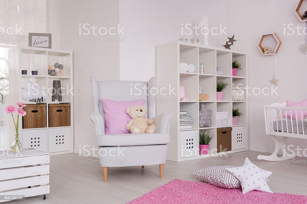 Comfortable decor of a contemporary baby room stock photo