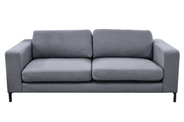 komfortable graues sofa - kanapee stock-fotos und bilder