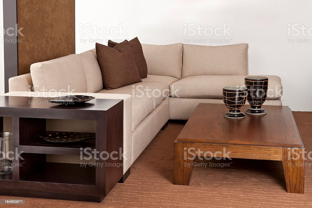 Comfortable living room sofa and table stock photo