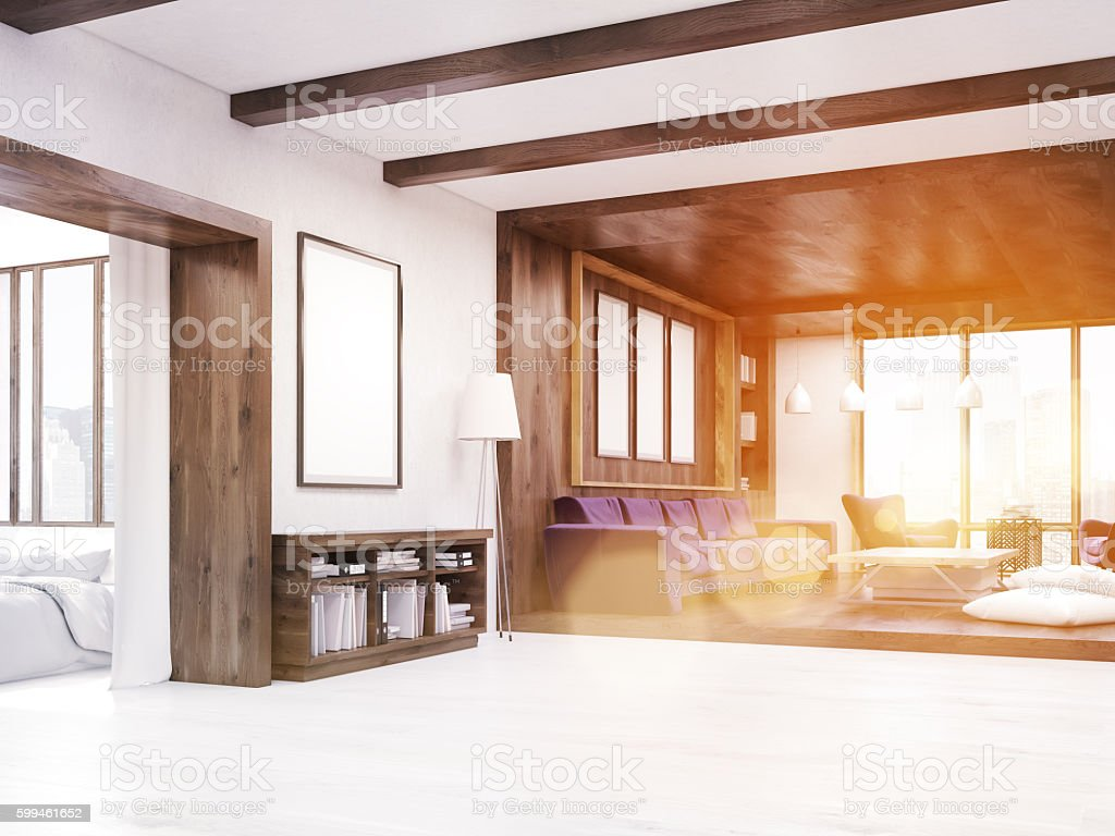 Comfortable living room with sunlight stock photo