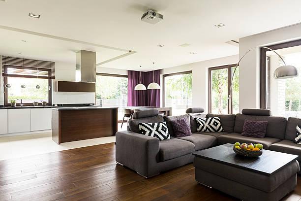 comfortable modern lounge corner - küche lila stock-fotos und bilder