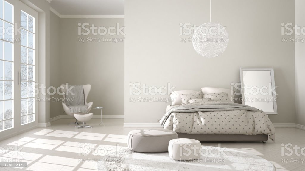 Comfortable Modern White And Beige Bedroom With Wooden ...