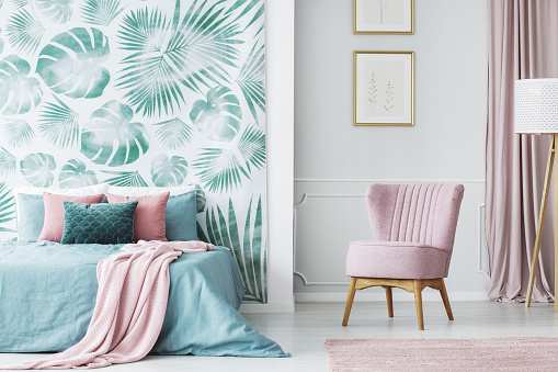 Comfortable pale pink upholstered chair