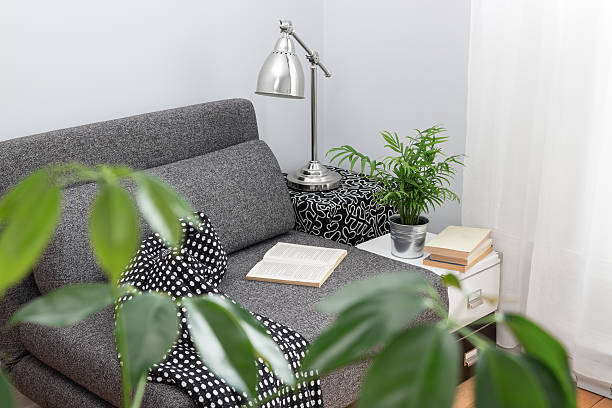 Comfortable place for reading in a living room stock photo