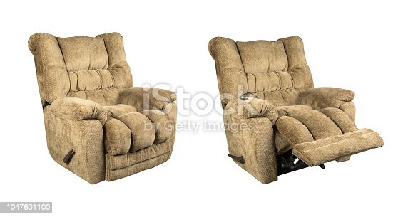Comfortable fabric recliner massage seat isolated on white background