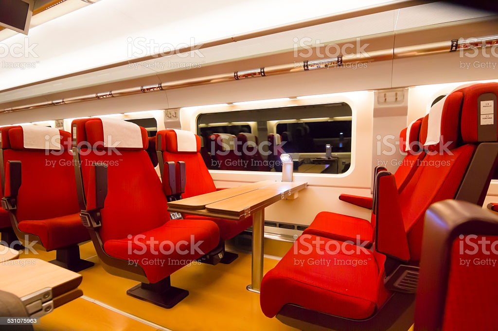 Comfortable seating in a modern passenger train stock photo
