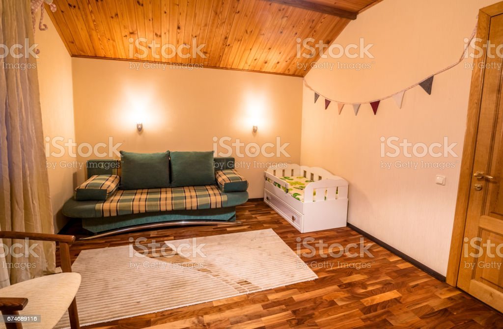 Comfortable Small Bed In Cozy Childrens Bedroom Stock Photo ...