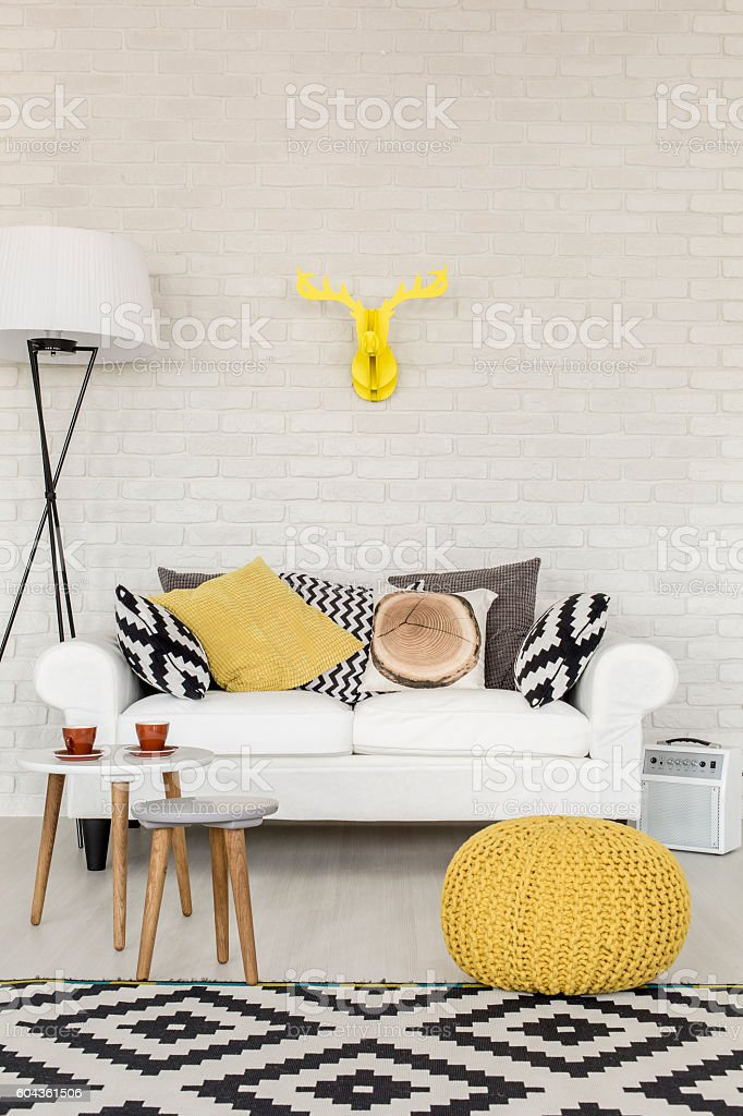 Comfortable sofa corner in a contemporary flat stock photo