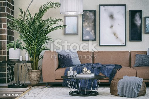 Picture of cozy sofa in domestic living room. Render image.
