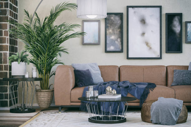comfortable sofa in domestic living room - living room background imagens e fotografias de stock