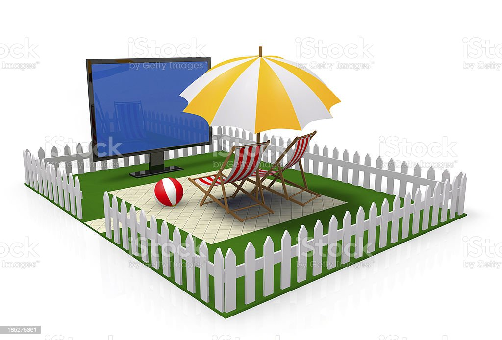 Comfortable vacations in home backyard stock photo