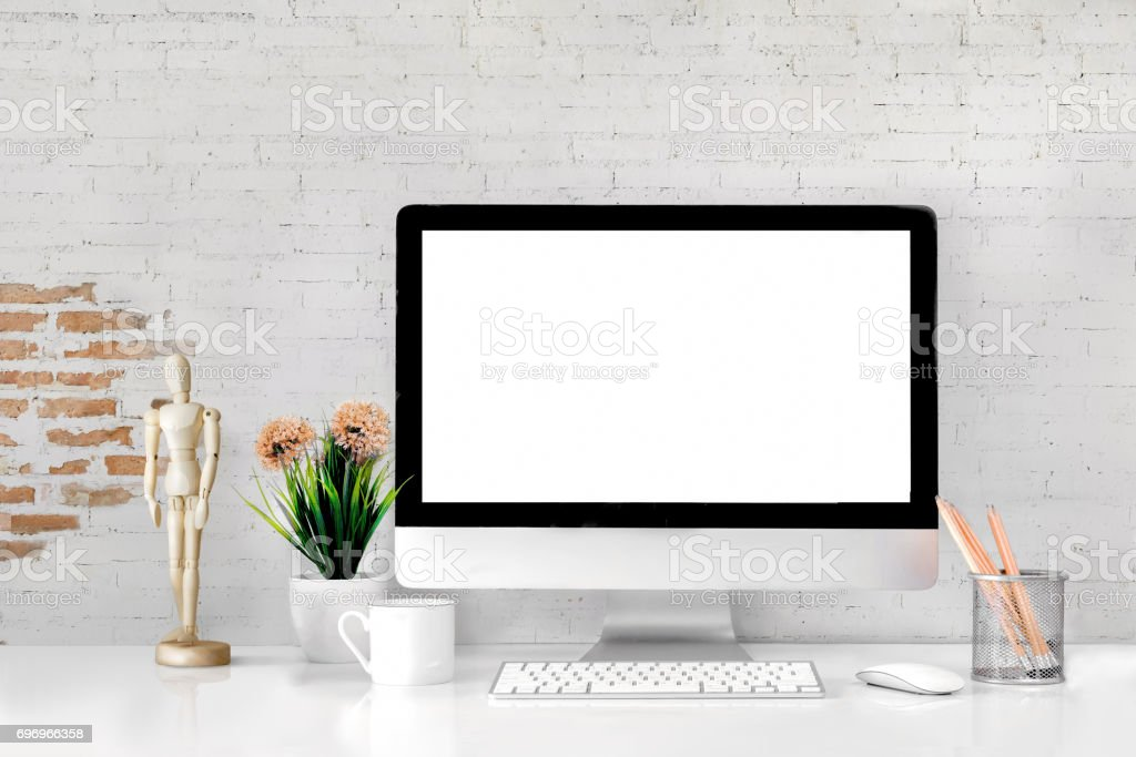 Comfortable workplace with modern desktop computer. stock photo