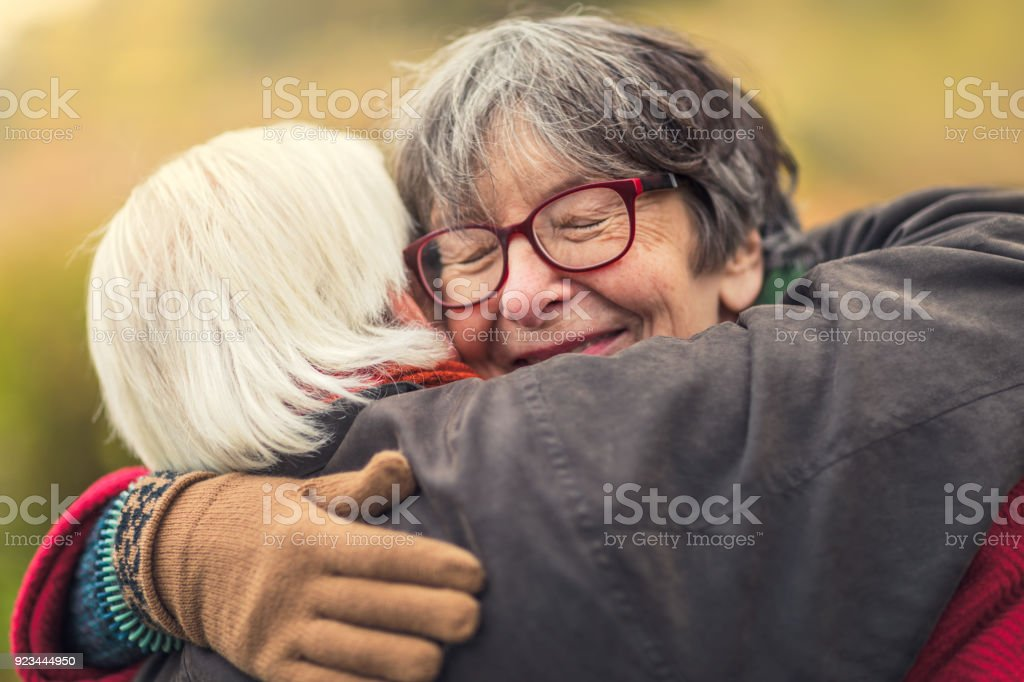 Comforting embrace stock photo