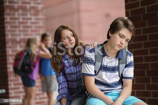 istock Comforting friend after being bullied. 1001596908