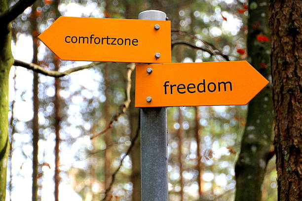 Comfortzone and Freedom Comfortzone and freedom written on a sign time zone stock pictures, royalty-free photos & images