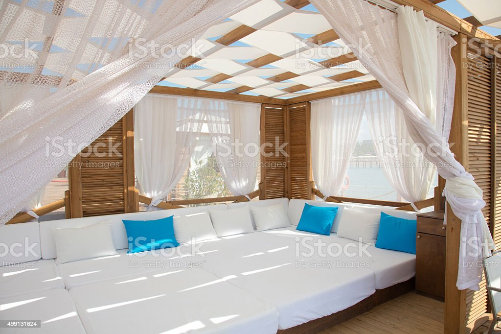 Comfy beach gazebo stock photo
