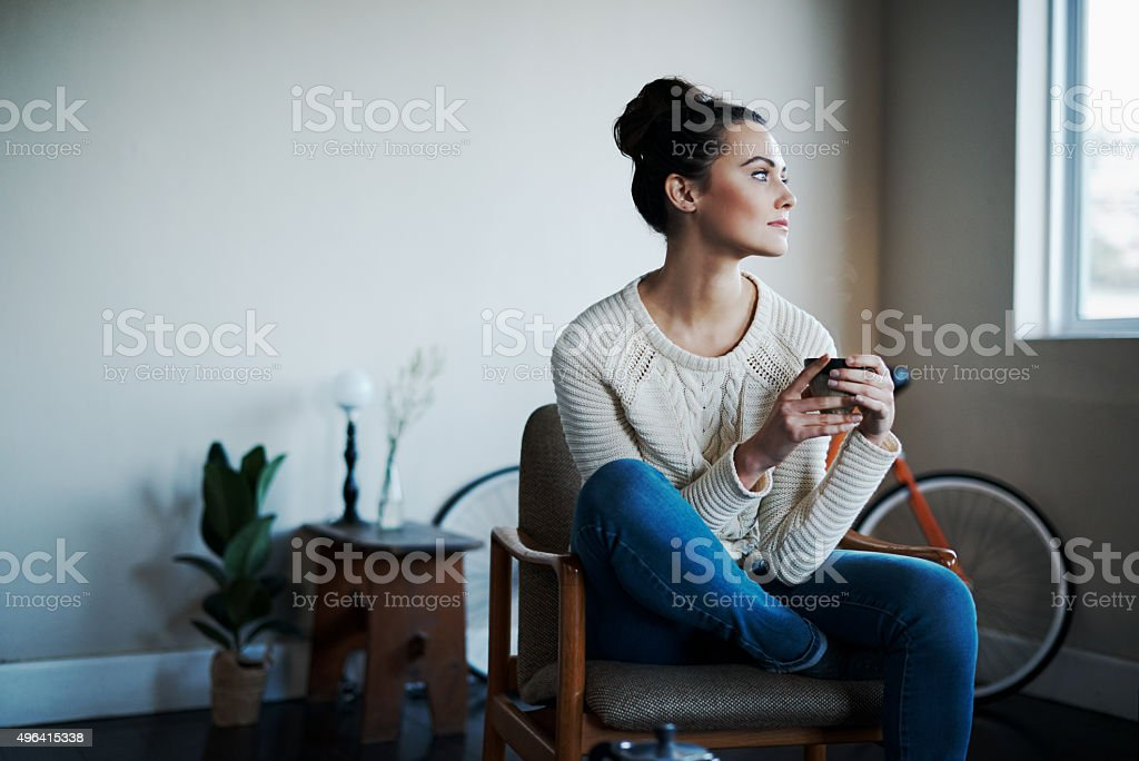 Comfy with some coffee stock photo