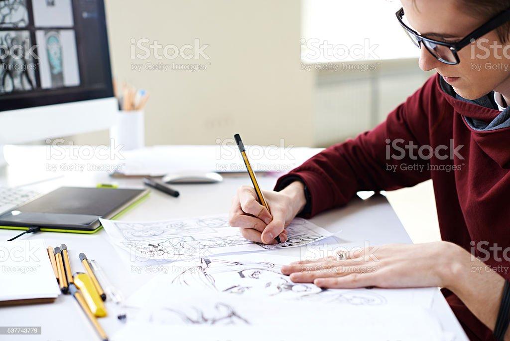 Artista de banda desenhada - fotografia de stock